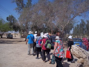 Going on our final assignment into the Arava, protected from the sun and by our guardian angels.