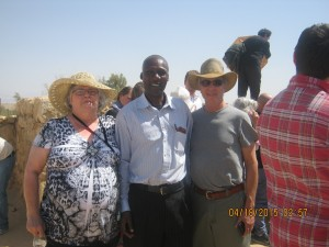 """My Kenyan """"son"""" Chris of the Maasai who hold that they are descendants of the tribe of Menasseh; to his left Sally from Michigan, to his right Howard Bass"""