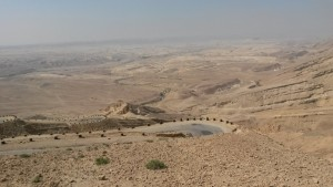 Our first stop to blow the shofars southward. In the background one can see Mt. Horeb