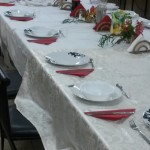 Sylvie set the Shabbat table decoratively.