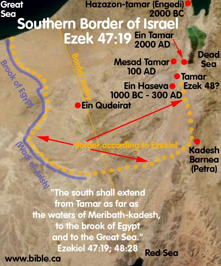 Ezekiel 47:18-19: Tamar a southern border town in the Messianic Reign