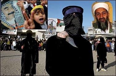 Fanatic Islam; Bin Laden and Saddam picture, Palestinian terrorists