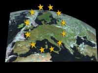 The EU (European Union) flag with map of Europe